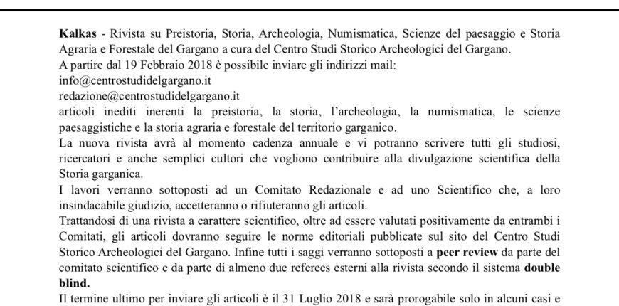 Call for papers - Kalkas