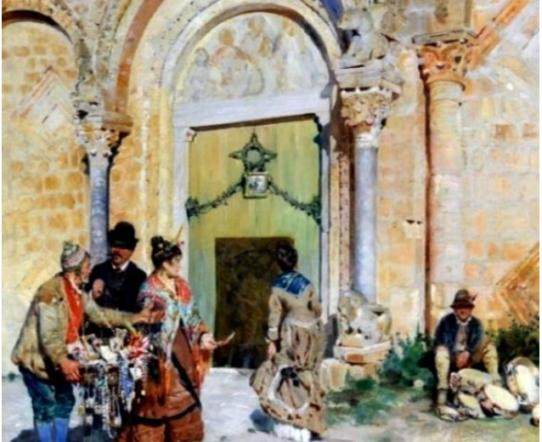 Il Portale della Basilica di S. Maria Maggiore di Siponto in un dipinto del pittore Alceste Campriani